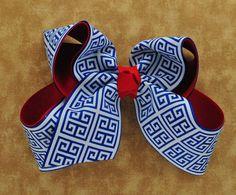 Electric Blue GREEK KEY on Red Ribbon Hair Bow #Handmade