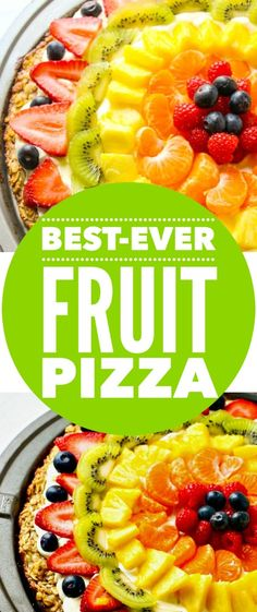 """Fruit Pizza--A new HEALTHY version of fruit pizza that is made with our very popular Pinterest recipe: """"The Best Fruit Dip Ever""""."""