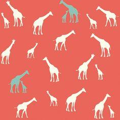 Organic Cotton Fabric-Birch SERENGETI Giraffe by CedarHouseFabrics