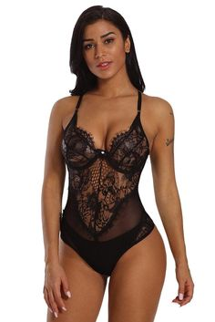 d4df076fcc Black Sheer Mesh Lace Cupped Teddy Lingerie Teddy Bodysuit