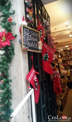 Christmas shop in Dubrovnik. Open all year. Christmas Stockings, Christmas Ornaments, Dubrovnik, Christmas Shopping, Ladder Decor, Xmas, Holiday Decor, Croatia, Needlepoint Christmas Stockings