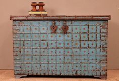 Bright Blue Rustic Antique Indian Wedding Chest by hammerandhandimports