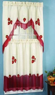 Modelos de cortinas para tu cocina   escoge tu favorito    Cocina   DecoraFruitopia Fruit Print Kitchen Curtain   Red Gingham Check Kitchen  . Kitchen Curtains Fruit Design. Home Design Ideas