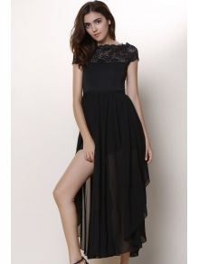 Bohemian Square Neck Short Sleeve Lace Spliced Pure Color Women's Dress