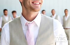 ms bentleys on the bay wedding, cabana blue, groom khaki vest, pink and white tie