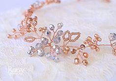 Rose Gold Hair Accessory, Rose Gold Hair Vine, Rose Gold Hair Piece, Rose Gold Wedding Tiara, Rose Gold Bridal Diadem, Wedding Crown A very elegant rose gold hair vine is made out of bigger and smaller rose gold beads, silver crystals wired with the rose gold jewelry wire. The