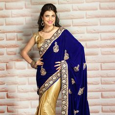 Blue and Beige Velvet and Art Silk #Saree with Blouse