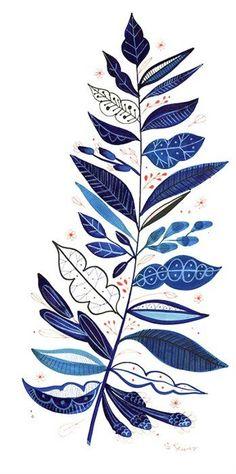Indigo patterned fern - source: rabiscosemfotos