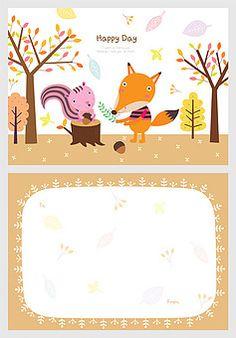 일러스트/팬시/편지지/사람없음/귀여움/잎/가을/여우/나무/프레임/카피스페이스/단풍/다람쥐/도토리/그루터기/백그라운드/동물/캐릭터/의인화/나뭇잎/브라운//속지/ Baby Art, Happy Day, Snoopy, Education, Illustration, Kids, Fictional Characters, Hapy Day, Toddlers