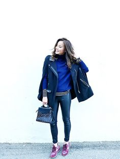 striped tee under cropped sweater  Jamie Chung of What the Chung? via @WhoWhatWear