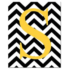 Monogrammed Letter or Customized Initial - 8x10 Print - Chevron Design Pattern - Kids Wall Art for Nursery - Choose Your Colors