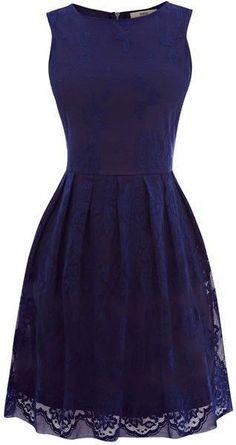 Sleeveless Navy Net Dress