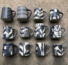 Slab Pottery, Pottery Mugs, Ceramic Pottery, Pottery Painting, Ceramic Painting, Clay Mugs, Ceramic Flower Pots, Wheel Thrown Pottery, Japanese Pottery