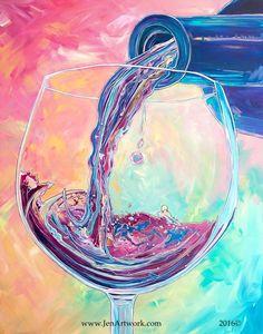 """Pour Me Another"" Original Hand Painting by Jen Callahan - Jen Callahan Artwork - Coastal Colors™ Wine Painting, Painting & Drawing, Pour Painting, Watercolor Painting, Acrylic Canvas, Canvas Art, Painting Canvas, Art Du Vin, Crayons Pastel"