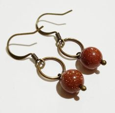 Antique Bronze Gemstone Drop Earrings - Hoop Earrings - Everyday earrings - Hobo Style Earrings