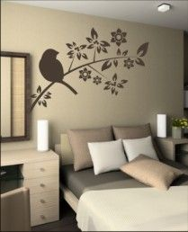 Vinilos decorativos pared-de paredes-adhesivos-decoracion | Formasdecorativas.es Home Wall Colour, Wall Colors, Living Room Wall Designs, Bedroom Decor, Wall Decor, Inspiration Wall, Textured Walls, Wall Murals, Stencil