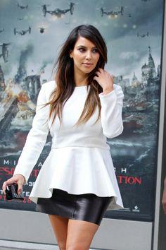 Kim Kardashian - deep side part hair
