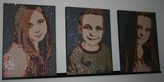 Portraits made with Sequins. By Herline.
