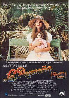 La pequeña (1977) por Louis Malle. Narra la historia de una niña de doce años (Brooke Shields) que vive en un burdel de Nueva Orleans. Brooke Shields, Movies, Movie Posters, Skid Row, Stories For Children, Artists, Films, Film Poster, Cinema