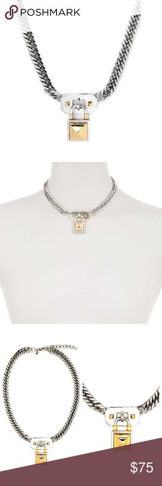 "Rebecca Minkoff Pyramid Lock Charm Chain Necklace NWT Silver tone curb chain necklace with two tone pyramid stud accented lock pendant and lobster clasp. Length 16"" with 2"" extension, Pendant Length 1 3/8"". Made of Brass. Will come with tag in jewelry pouch. Keep jewelry dry, avoid perfumes, soaps, cosmetics and chemicals around it and do not rub against rough surfaces. Rebecca Minkoff Jewelry Necklaces"