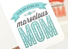 Mother's Day Card // Card for Mom // MARVELOUS MOM. $4.00, via Etsy.