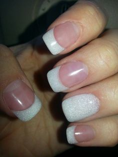 70 Super Ideas Wedding Nails Pearl French Manicures Wedding Hair Style Tips: Choose Your W French Tip Acrylic Nails, White Tip Nails, French Manicures, French Manicure With A Twist, French Tip With Glitter, Glitter French Manicure, Nail Polish, Nail Manicure, My Nails