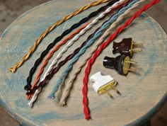 8 Foot Cloth Wire w/ Plug Attached 26 Color Options Twisted Cord Vintage Re-Wire Kit Lamp Electrical Cord light socket wire Custom Lighting, Vintage Lighting, Stained Glass Lamp Shades, Electrical Cord, Lamp Cord, I Love Lamp, Pipe Lamp, Plugs, Living Room