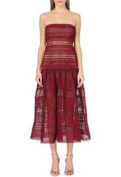 Selfridges & Co - SELF-PORTRAIT Strapless geometric-lace dress