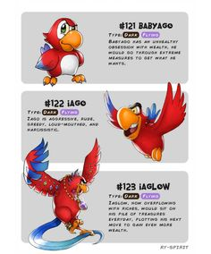 Babyago - Iago - Iaglow by Ry-Spirit on DeviantArt Disney Pixar, Disney Memes, Disney Villains, Disney Animation, Disney And Dreamworks, Disney Characters, Oc Pokemon, Pokemon Memes, Pokemon Fake