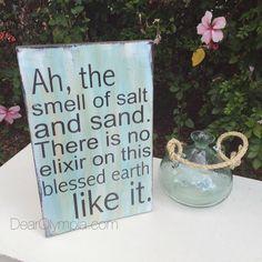 Sea As Elixir coastal decor sign from Dear Olympia   Coastal sign painted using CeCe Caldwells Paints Memphis Blue, Alaskan Tundra Green and Hickory Stain + Finish as well as tinted Clear Glaze. #coastal #dearolympia #sea #ocean #mermaid #seaglass #cececaldwellspaints