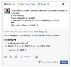 #Facebook s'apprête à rendre possible le formatage des posts