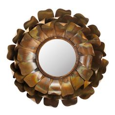 Flower-inspired wall mirror with a curved iron frame.   Product: Wall mirrorConstruction Material: Iron and mirrore...
