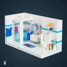 02 - Bathroom Legos, Bloc Lego, Lego Bathroom, Casa Lego, Lego Activities, Lego Craft, Lego Room, Cool Lego Creations, Lego Worlds