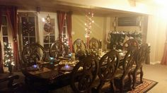 My dining room this Christmas I really enjoyed in decorating what colorful lights and colorful balls