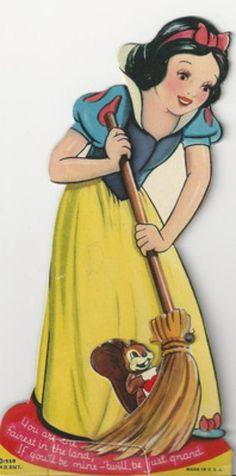 #1977-1939 Walt Disney Snow White-Vintage Die Cut Mechanical Valentine Card (02/21/2013)