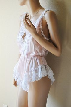 Vintage Light Pink Frilly Lace Teddy  by Tosca by LingerieAddicts, $30.00