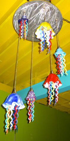 Blown Glass Chandelier - Chandelier - Jellyfish Light - Art Glass Lighting by PrimoLighting on Etsy