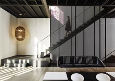 Photo 4 of 12 in A Dashing Converted Warehouse in San Francisco Centers on the Arts - Dwell Staircase Handrail, Staircase Design, Stairs, Staircases, Structural Steel Beams, Converted Warehouse, Stone Lamp, Street House, Interior Design Magazine
