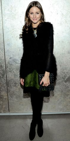 St. Patrick's Day Style: Stars in Green — Olivia Palermo kept warm in New York City in a fur vest, grass green skirt and over-the-knee boots.