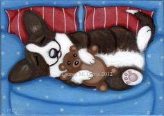 Brindle Cardigan Welsh Corgi Dog Fun Couch Original ALEX 5x7 Painting Folk LAUREN M. DAVIS ART SOLD