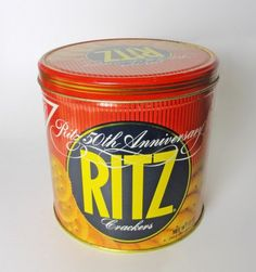 1984 Nabisco Ritz Crackers 50th Anniversary 12 oz. Round Vintage Cracker Tin Canister  VATC755 ...   For Sale