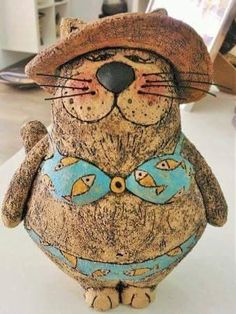 Lady cat Pottery cat Ceramic cat Animal sculpture от GappaPottery