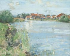 Sir James Guthrie PRSA HRA RSW LLD (British, 1859-1930) A River Bank 22.5 x 29 cm. (8 7/8 x 11 7/16 in.) Executed in 1888