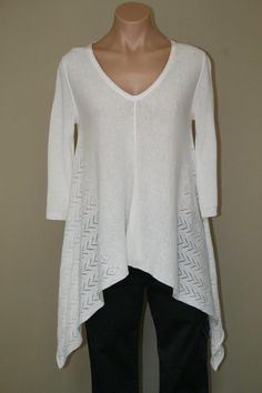 NEW $98 Chelsea & Violet White Hi Low Asymmetrical Knit Sweater Top size XS #ChelseaViolet #Tunic #Career