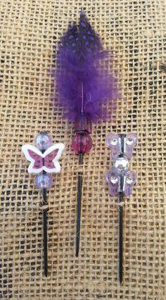 Purple Butterflies Beaded Push Pin Set by GrlFridayProductions, $5.00