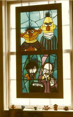 Ernie and Bert with Frank Oz and Jim Henson, memorialized in stained glass. Hung at Jim Henson Production's studio in New York City in the Jim Henson, Die Muppets, Frank Oz, Labyrinth, Muppet Babies, Fraggle Rock, Stained Glass Patterns, Kermit, Puppets