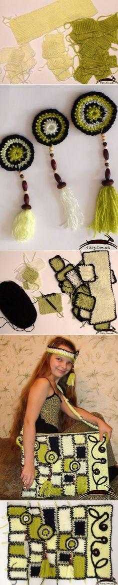 Фотоотчет - изготовление вязаной сумки в стиле пэчворк - Ярмарка Мастеров - ручная работа, handmade