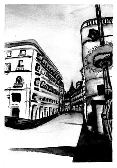 Madrid black and white Watercolour Painting, Madrid, Louvre, Photo And Video, Black And White, Artwork, Travel, Instagram, Blanco Y Negro