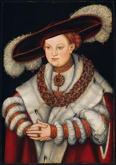 Reinette: German Style from 1468-1588 Portrait of Magdalena of Saxony, Electress of Brandenburg by  Lucas Cranach the Elder, c. 1529