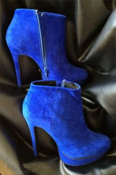 HighHeels Shoes New pair of ankle boots blue suede ankle boots withplatform 4032  Blue Heels 